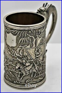 CHINESE EXPORT solid silver Dragon handled FIGURAL TANKARD/MUG. Signed c1890
