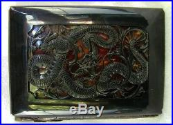 CHINESE TORTOISE SHELL WALLET CARD HOLDER CARVED DRAGON CHINA TRADE c. 1820