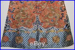 COLORFUL ANTIQUE CHINESE ROBE JACKET WITH GILT DRAGONS