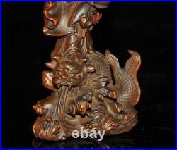 China Buddhis Boxwood wood Dragon fish Kwan-yin Kuan-yin Guanyin Quan Yin Statue