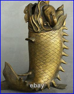 China Dynasty Palace Bronze Copper Auspicious Dragon Fish Incense Burner Censer