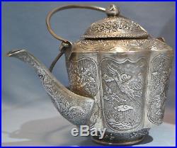 Chinese 900 Silver Repousse Tea Set Pot Cups Tray Dragon Bamboo Motif Circa 1920