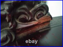 Chinese Antique 2 Pc. Mahogany dragon Carved Parlor settee Suanzhi style THRONE