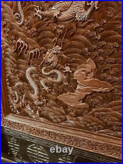 Chinese Antique Cinnabar Table Screen Carved Sea And Dragon