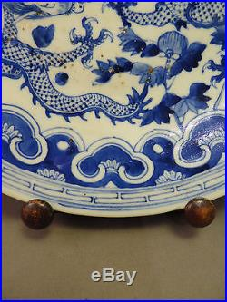 Chinese Antique Dueling Dragons Blue & White Large Charger Plate 19th century
