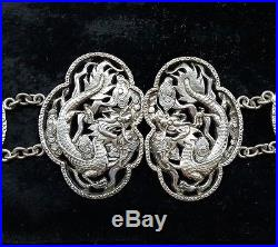 Chinese Antique Kwan Wo Silver Belt Dragon Buckles 30