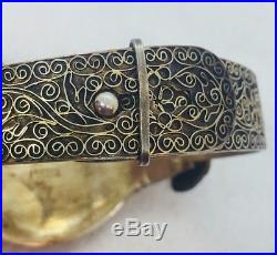 Chinese Antique Ornate Sterling Silver Carved Green Jade Dragon Bracelet