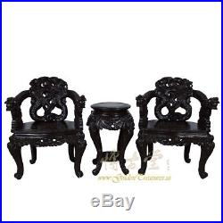 Chinese Antique Pair of Raise Carved Dragon Chairs withTable 16LP40