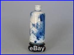 Chinese Antique Qing Dynasty Blue White Porcelain Dragon Snuff Bottle PERFECT