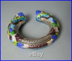 Chinese Antique Silver Tribal Enamel Dragon Bracelet Yunnan
