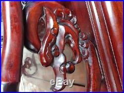 Chinese Beautiful vintage carved Redwood Dragon Bench settee