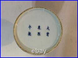 Chinese Blue & White Porcelain Mallet Vase 5 Claw Dragon Decoration Kangxi Mark
