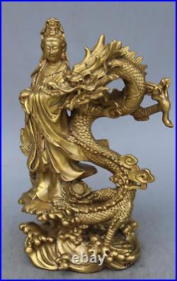 Chinese Brass Dragon kwan-yin GuanYin Goddess buddha statue