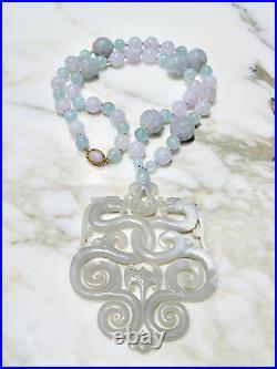 Chinese Carved Lavender Jadeite Aquamarine Necklace W Archiac Dragon Pendant 14k