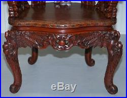 Chinese Circa 1870 Qing Dynasty Carved Rosewood Dragon & Lion Foo Dogs Armchair