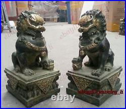 Chinese Classic Antiques Bronze lion pair Fu Foo Dog guard Statues big 21cm