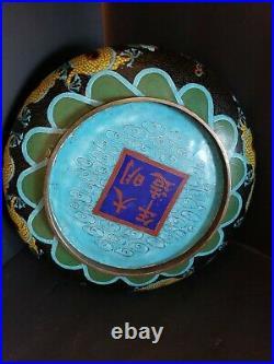 Chinese Cloisonne Dragon/Pearl Bowl Enamel Bowl, Guangxu Period LRG