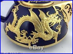 Chinese Dragon Gold Plated Tin Inlay Blue Porcelain Tea Set for 6 Jin Xiang Yu