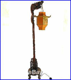 Chinese Dragon Lamp Wood Floor Antique Carved Custom Pagoda Shade 1920s Rare