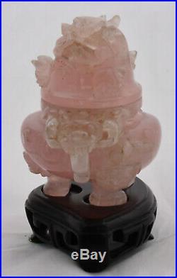 Chinese Dragon Rose Quartz Altar Okimono Censer Incense Burner
