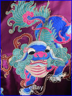 Chinese Dynasty Purple Silk Dragon Antique Robe OS
