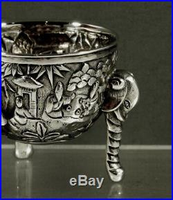 Chinese Export Silver Bowls (2) c1890 Dragon & Elephant