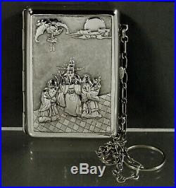Chinese Export Silver Box c1890 Bat Dragon Elder & Child