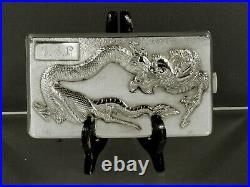 Chinese Export Silver Cigarette Case c1890 DRAGON