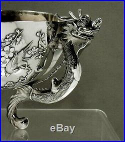 Chinese Export Silver Dragon Bowl c1885 WANG HING