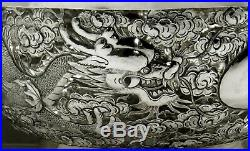 Chinese Export Silver Dragon Bowl c1890 WING FAT