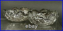 Chinese Export Silver Dragon Bowls c1890 WANG HING