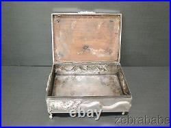 Chinese Export Silver Dragon Box NANKING Ruby Eyes