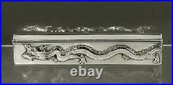 Chinese Export Silver Dragon Box c1890 WANG HING