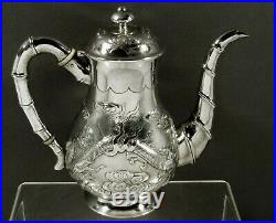 Chinese Export Silver Dragon Coffee Pot c1890 SIGNED