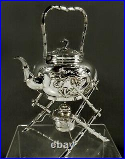 Chinese Export Silver Dragon Tea Set c1890 HUNG CHONG