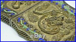 Chinese Export Silver Filigree Card case with dragon, squirrel Flowers