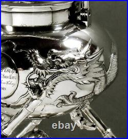 Chinese Export Silver Tea Kettle & Stand c1890 KMS DRAGONS