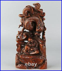 Chinese Exquisite Hand-carved Dragon Luohan Carving Boxwood statue