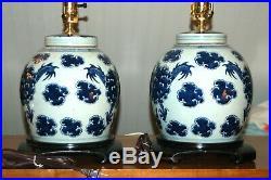 Chinese GINGER JAR LAMPS Pair Blue & White Porcelain Dragon Canton (3P)
