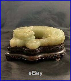 Chinese Jade Dragon Laying Dragon with Original Wooden Stand