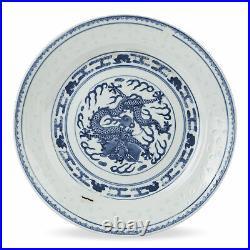 Chinese Kangxi Mark Dragon Rice Grain Pattern Plate