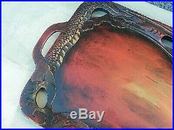 Chinese Lacquered Dragon Tray Carved Wood