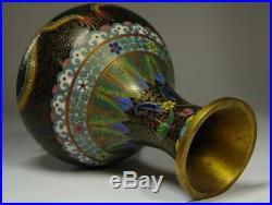 Chinese Old Cloisonne Dragon Flower Vase / W 10.5 × H 15.2 cm