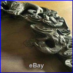 Chinese Old Huge Dragon Ink Stone / W 41.5cm 9.5kg