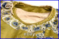 Chinese Qing Dynasty Embroidered Silk Dragon Robe / L 144cm