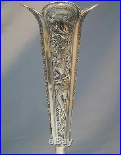 Chinese Shanghai Sterling Silver Vase Dragon Motif Circa 1900