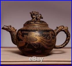 Chinese Special Antique Handwork Dragon Yixing Zisha Teapot Mark KangXi PT109