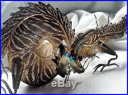 Chinese Sterling Silver Ruby Dragon Statue Figure Filigree Stamped 925 Jewelry