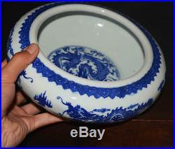 Chinese blue and white porcelain pot plate Bowl dragon vase old antique qianlong