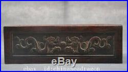 Chinese huanghuali wood hand carved beast dragon fishstatue storage box boxes